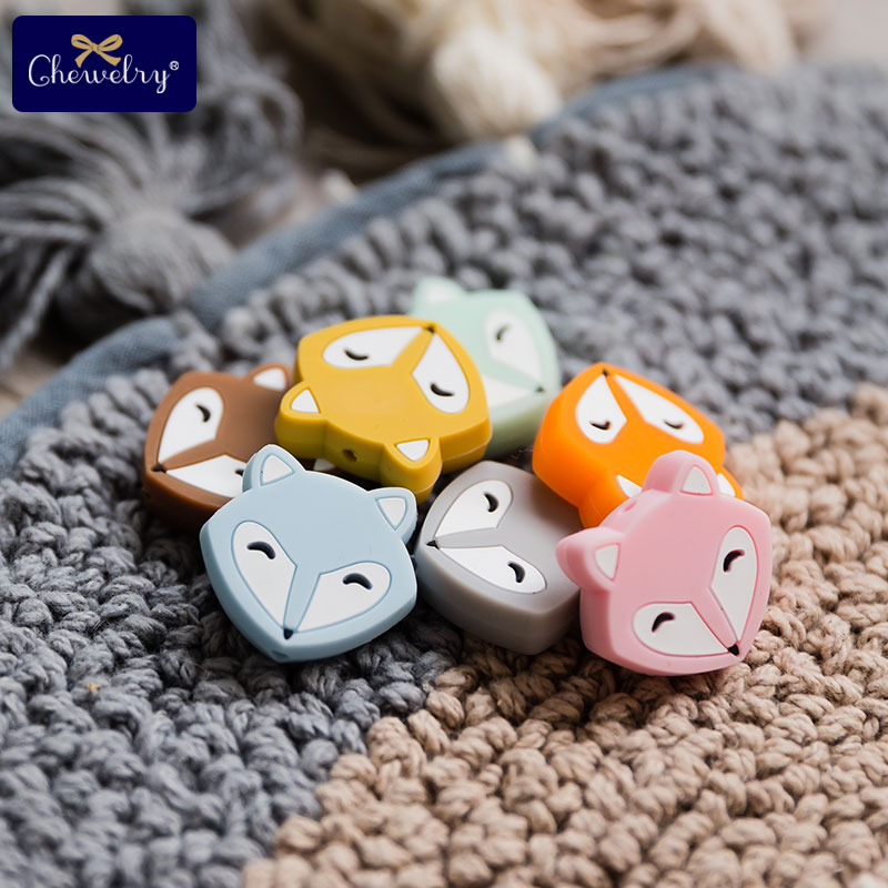 3PC Baby Teether Fox Cartoon Rodent Silicone Beads Mini Fox DIY Pacifier Chain Necklaces Pendant Bite Chew Teething Necklace Toy