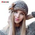 Повседневная Шапочки Женский Шляпа 2016 женские Зимние Вязаные Шляпы Мех Мяч Тепловой Осень Cap Девушку Помпоном Bonnet Femme Hiver Fourrure