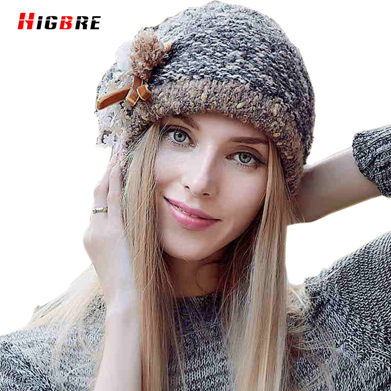 Casual Beanies Female Hat 2016 Women's Winter Knitted Hats Fur Ball Thermal Autumn Cap Woman Pompom Bonnet Femme Hiver Fourrure knitted winter autumn female hat plaid lace beanie cap woman chunky baggy cap skull gorros de lana mujer femme beanies cap