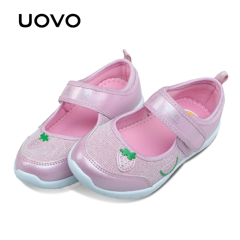 UOVO 2017 New Kids Shoes Fashion Girls Princess Casual Shoes Light Brand Little Girls Dress Shoes
