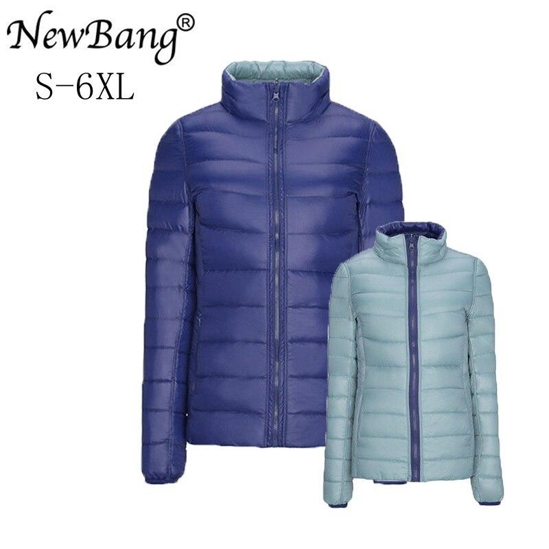 NewBang Marke Plus 4XL 5XL 6XL frauen Unten Mantel Ultra Licht Unten Jacke Frauen Doppel Seite Reversible Jacken Leichte mantel
