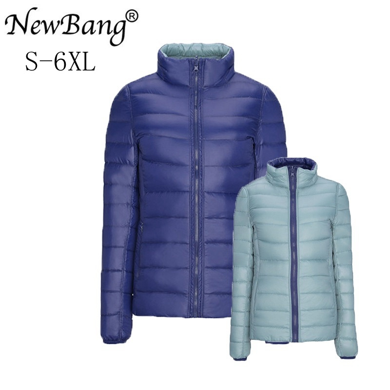 NewBang marca Plus 4XL 5XL 6XL chaqueta de plumón Ultra ligera para mujer chaqueta Reversible de doble cara Chaqueta ligera