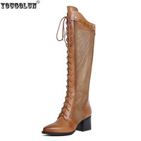 Genuine Leather Women Sandals Womens Summer Boots Knee Thigh High Sandal Med Heels Shoes Ladies Fashion
