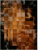 Natural Chocolate Cowhide Patchwork Rug