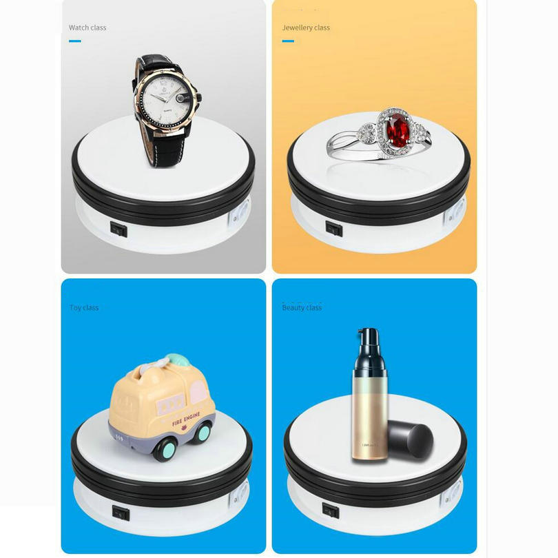 HQ 250X60MM Electric Turntable Display Stand 360 Swivel Plate form 20/40/60/120 Seconds Electric Rotary Display Advertising