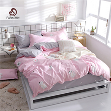 ParkShin Fitted Sheet Cartoon Bedding Set Bed Linen Pink Bedspread Rubber On Elastic Band Comfort Cover