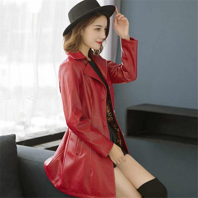 Faux Kulit Mantel Wanita Hitam Merah 5XL 6XL Plus Ukuran PU Jacket 2019 Baru Musim Gugur Musim Dingin Korea Fashion Plus Kapas ibu Jaket CX943