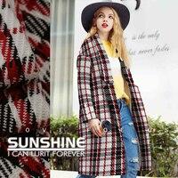 Knitting wool fabric grid catwalk fashion skirts thin coat jacket wool clothing and garment fabric autumn and winter wool cloth