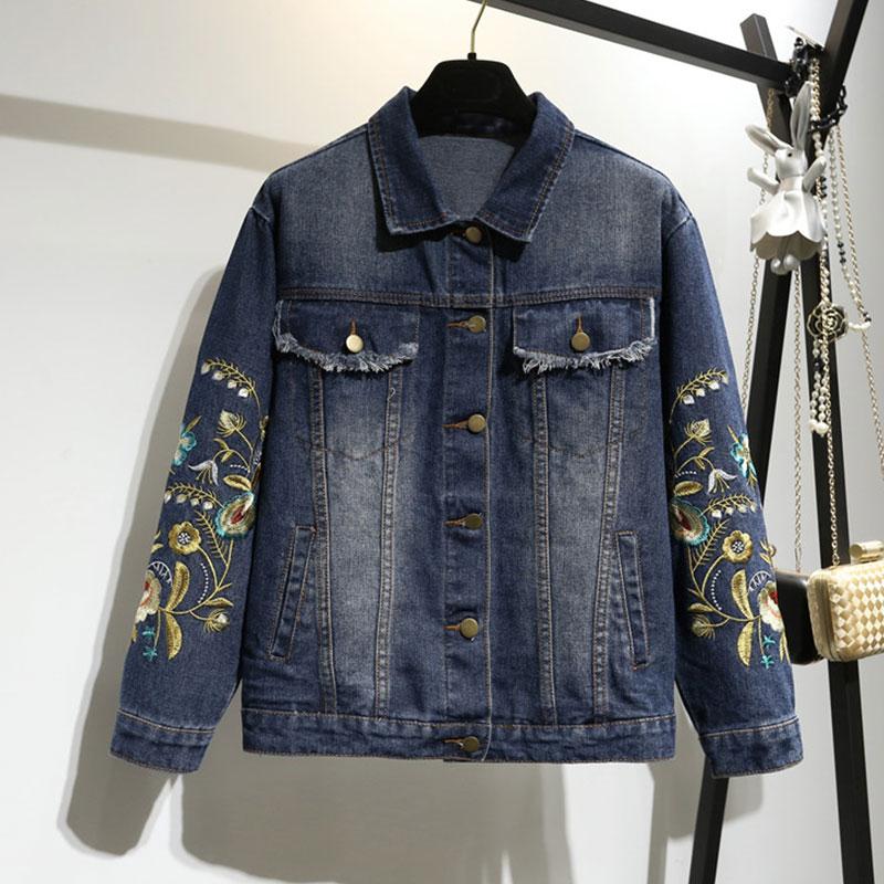 5XL Autumn Long sleeve Jeans Jacket Plus size Women New Dark Blue Embroidery Flower Befree Cowboy Outwear Female Coat Tops HS47-in Jackets from Women's Clothing    2