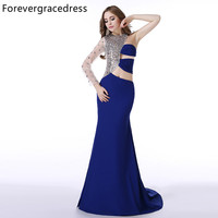 Forevergracedress Real Picture Royal Blue Prom Dress New Style One Shoulder Sleeve Crystal Long Formal Party