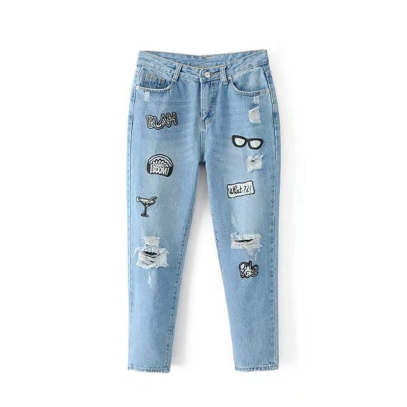 Boyfriend Jeans Women Blue Kawaii Harajuku Letter Embroidery High Waist Hole Ripped Jeans Female Ankle-Length Denim Harem Pants boyfriend jeans women ankle length washed denim summer vintage hole ripped letter embroidery harem pants female casual streetwea