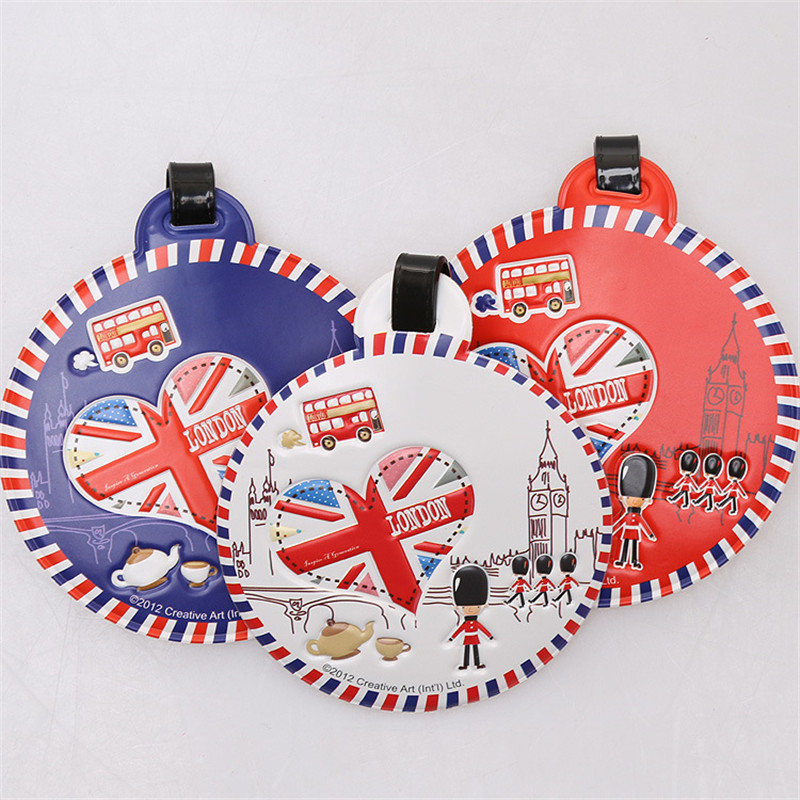 British Solider Bus London Luggage Tags Classic PVC Large Portable ID Card Suitcase Checked Information Card Travel Accessories