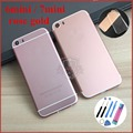for iPhone 5 5s like 6 7 Cover like 6 7mini Rose Gold color Back Housing Metal Middle Frame For iPhone 6mini 7mini free TPU Case