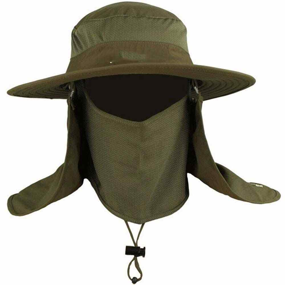 c9967365ede Mens Fishing Hat Round Edges Cap Camping Hat Sun UV Protection Summer  Bucket Cap with Neck