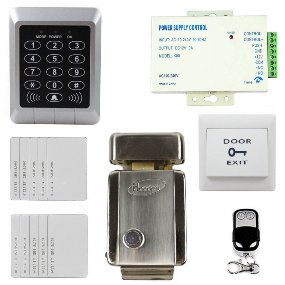 DIYSECUR 125KHz RFID Reader Keypad Access Control System Security Kit + Electric Lock for Office / Home Improvement diysecur touch button rfid 125khz metal keypad door access control security system kit magnetic lock for home office use
