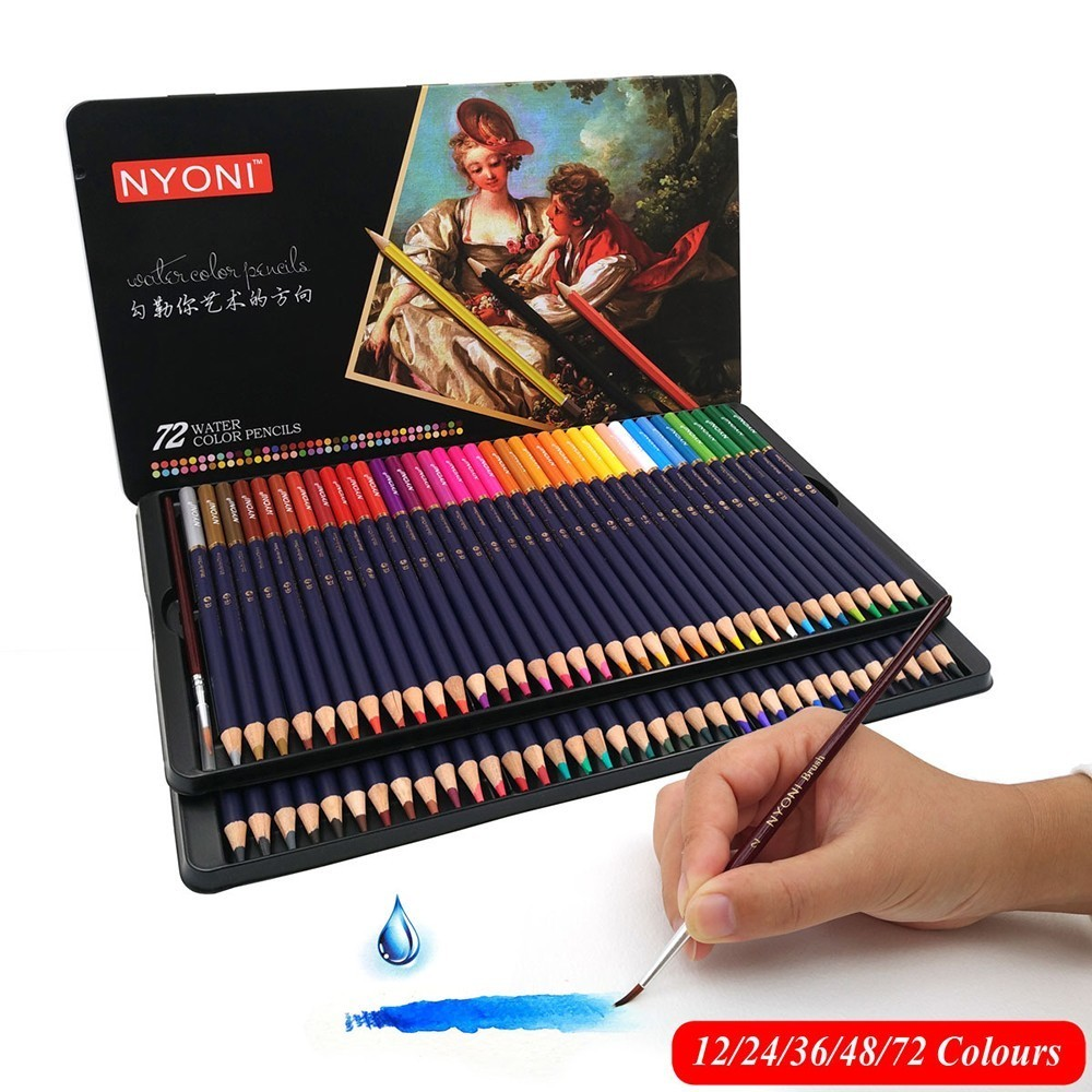 CHENYU 12/24/36/48/72 Watercolor Pencils Premium Soft Core lapis de cor Professional Soluble color Pencil for Art School Supplie 24 36 colors watercolor pencils lapis de cor professional lapis escolar school paint water soluble color hydrotropic carton