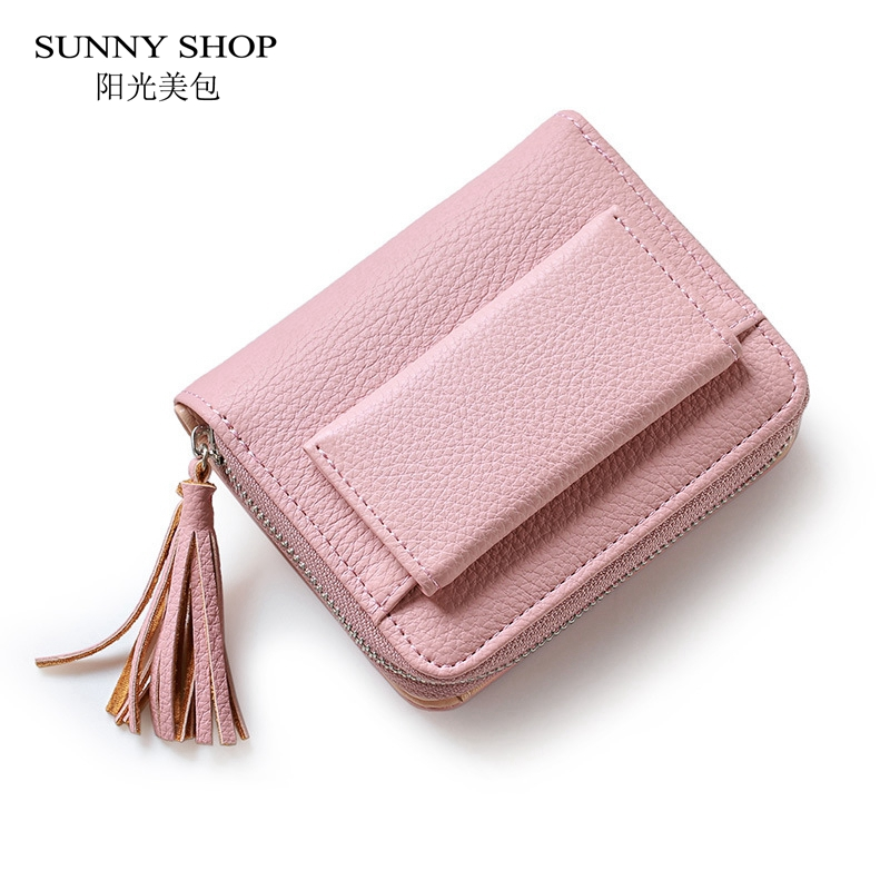 SUNNY SHOP Korean Cute Mini Wallet For Women 2018 Tassel Short Purse Girls Student Gift Candy Color PU Leather Card Holder Coin