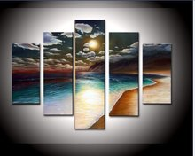 hand-painted artwork The Yellow beach High Q. Wall Decor Landscape Oil Painting on canvas 5pcs/set mixorde Framed