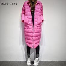 Ravi Ciudad de Invierno chaqueta de Las Mujeres 2017 de Corea Edición Ligera de Algodón acolchado Abrigos Capa de La Manera de la Mujer Delgada Larga de Las Mujeres Chaquetas sólidas
