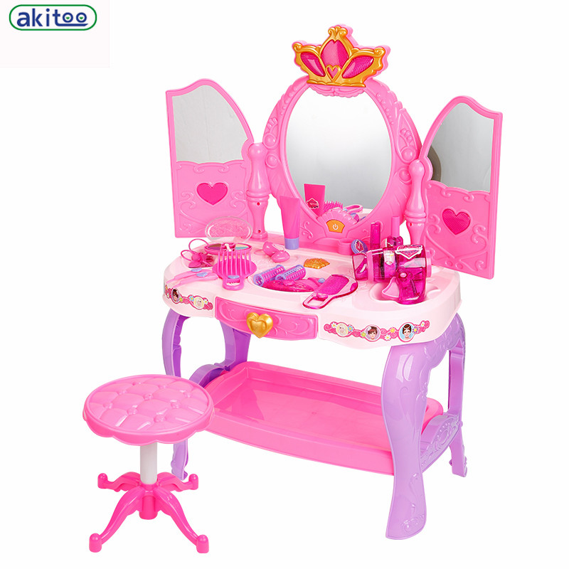 Delicieux New Arrival Childrenu0027s Dresser Simulation Play Music Little Girl Princess  Suit Every Family Toy Dressing Table Mirror With Stool In Furniture Toys  From Toys ...