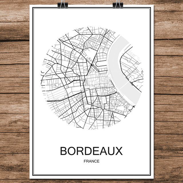 Bordeaux Map Of France.Famous World City Street Map Bordeaux France Print Poster Abstract