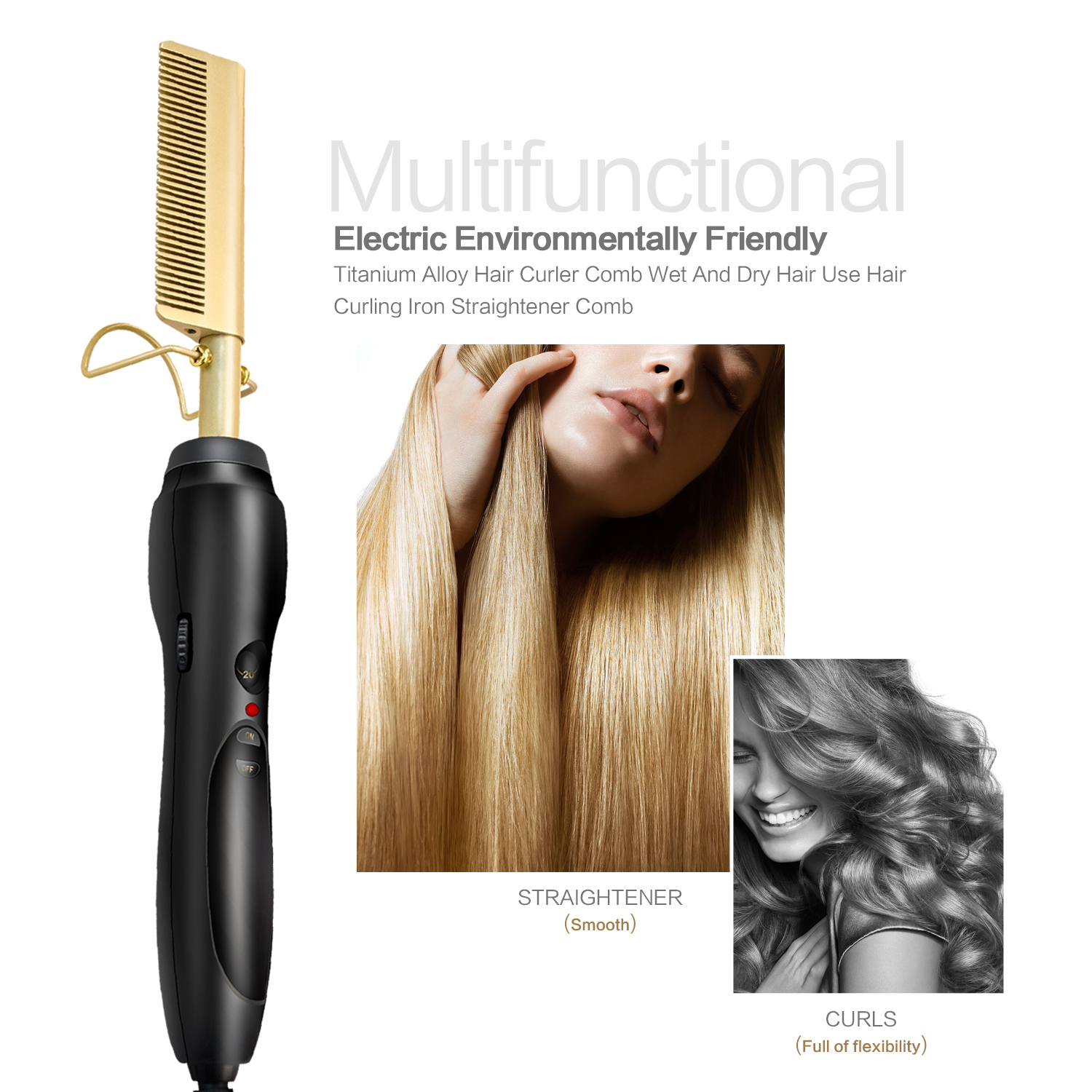 2019 Electric Environmentally Friendly Titanium Alloy Hair Curler Comb Wet And Dry Hair Use Hair Curling Iron Straightener Comb