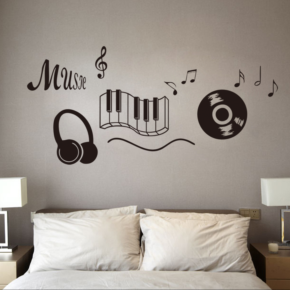 Einzigartig Wall Tattoo Beste Wahl Classic Record Earphone Piano Keyboard Music Note
