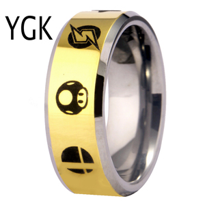 Image 4 - YGK Hot Sales 8MM Tungsten Wedding Band Ring For Women and Men Super Smash Bros Zelda/Metroid/Pokemon/Mario bros/Star Fox Design