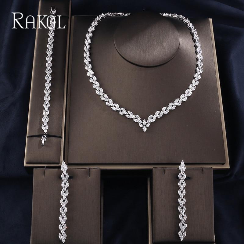RAKOL Clear Color AAA Cubic Zircoia Long Earrings Necklace For Women Fashion Bracelet Jewelies Sets Wedding