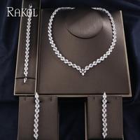 RAKOL Clear Color AAA Cubic Zircoia Long Earrings Necklace For Women Fashion Bracelet Jewelies Sets Wedding Accessories