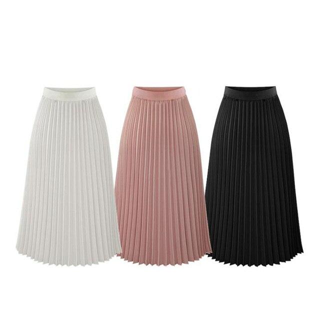 Новые 2018 летние Высокая Талия юбки женские цвет: черный, синий средней длины плиссированные юбки эластичный пояс большой Размеры дамы Богемия шифоновая юбка