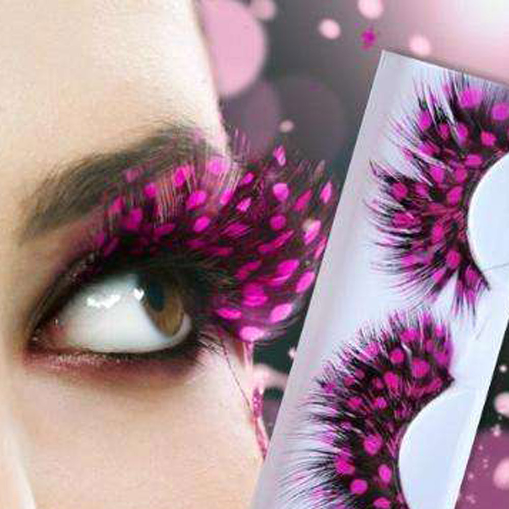 2017 Soft Women Lady Makeup Thick Long Feather False Eyelashes Eye Lashes Extention Makeup Party Club Pink Pestanas falsas