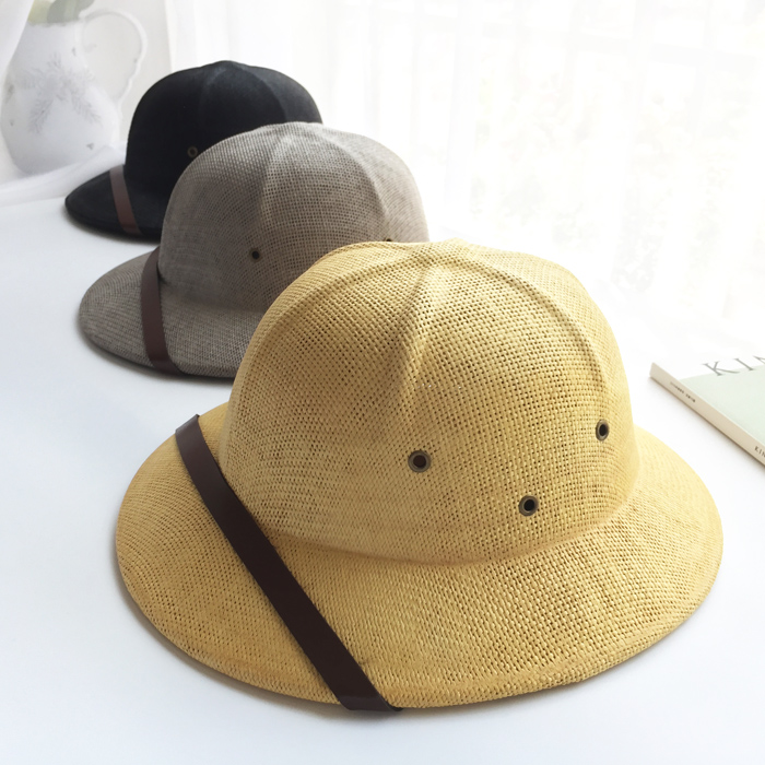 Novelty Toquilla Straw Helmet Pith Sun Hats For Men Vietnam War Army Hat Dad Boater Bucket Hats Safari Jungle Miners Cap  B-8268