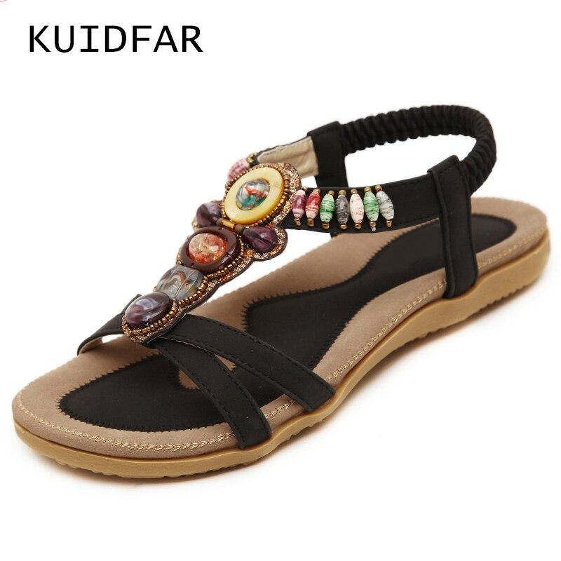 KUIDFAR Women summer Sandals shoes woman Flat shoes New Rhinestone leisure female slippers Diamond Bohemian Casual Shoes
