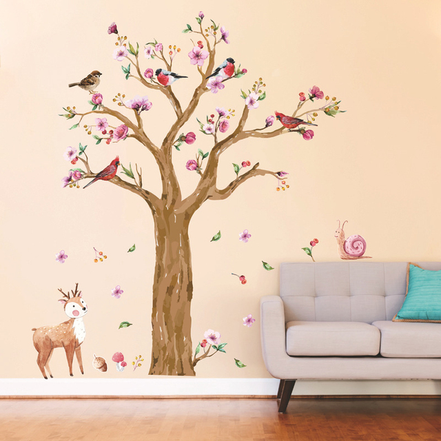 large flower wall sticker tree removable cute animal wall decal for