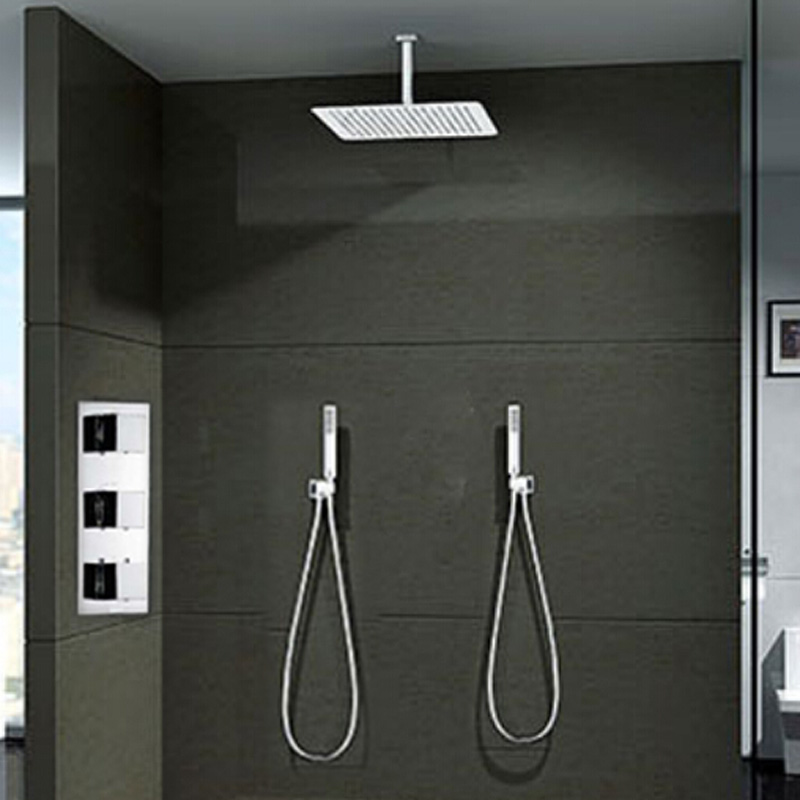 Luxury mixer shower set faucet ceiling mount 16 ultrathin rain head with  2pcs handheldCeiling Mounted Rain Shower Head 20 Inch Wall Mount Square  . Overhead Rain Shower Head With Handheld. Home Design Ideas