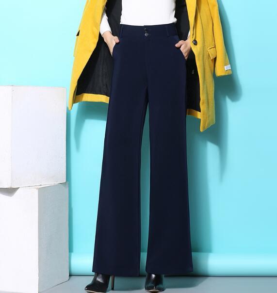 Para Alta Nuevo Cintura Rojo Negro De Rectos borgoña azul Tamaño Mujer El verde Negro Las Mujeres Pantalones 4 Sólido Más Pierna Verde Color Ancha Azul Qzq0801 Ol UvUtR