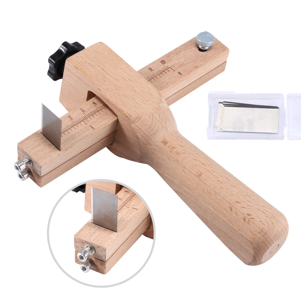 Quality Adjustable Leather Craft Cutter Strap Belt DIY Hand Cutting Tools Wooden Strip Cutter With 5 Sharp Blades New Arrival
