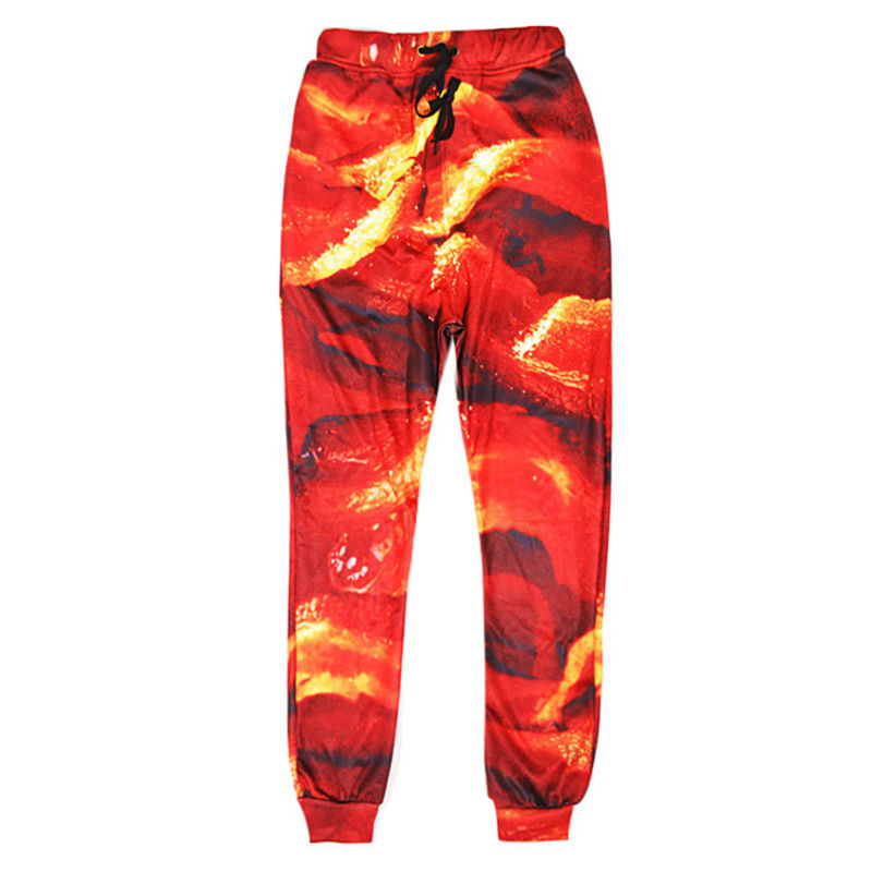 Men Pants Harajuku 3d Print Bacon Food Sweatpants Hip Hop Stylish And Personality Baggy Loose Casual Trousers Clothing Homme