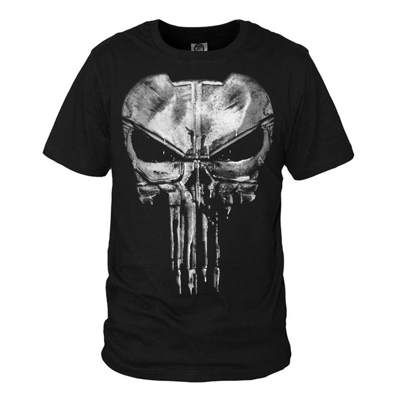 The Punisher Daredevil Skull T Shirt Cotton Tee Cosplay Tops wholesale Tee custom Environmental printed Tshirt cheap wholesale(China)