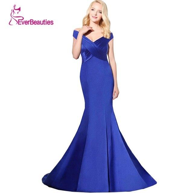 Robe De Soiree Hot Sell Abendkleider Avondjurk V-neck Floor Length Women  Mermaid Royal Blue Long Evening Dress 2019 for Party 9271a4db9