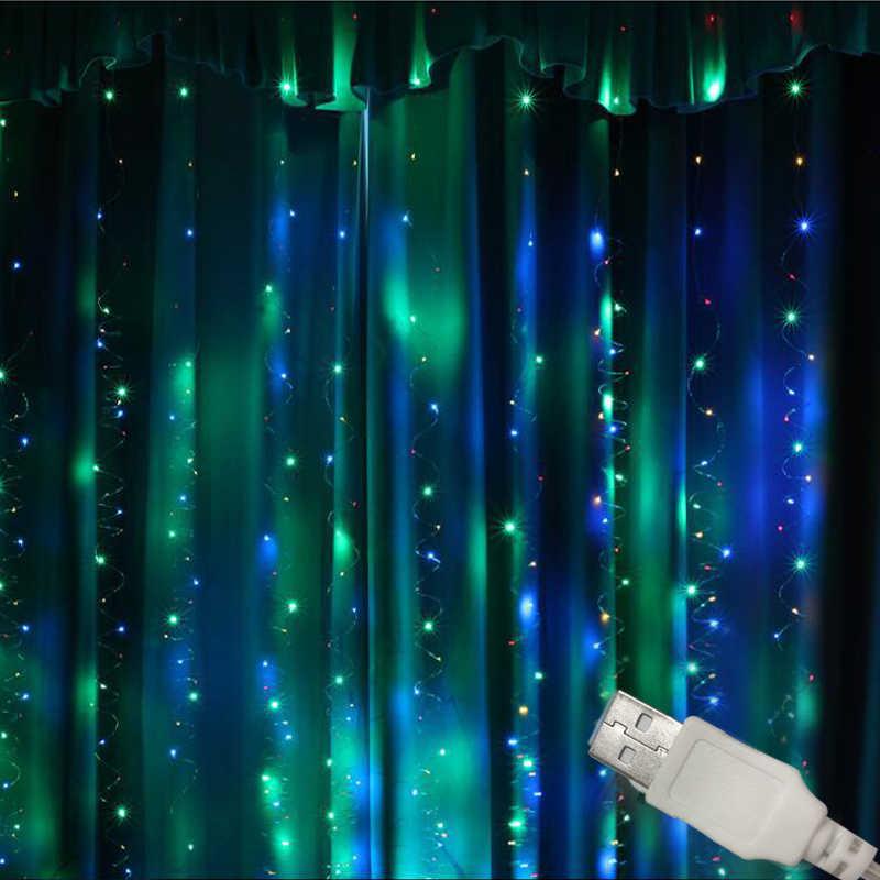 3 м x 3 м 300 светодиодный s с usb-питанием светодиодный гирлянда для занавесок Рождественские Свадебные украшения Водонепроницаемые медные провода сказочные огни