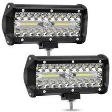 1x2x120 W Combo listwy świecące LED Spot Flood Beam 4x4 Spot 12V 24V 4WD Barra 7 Cal LED reflektor dla Auto łodzie SUV ATV ilught.