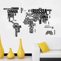 * Красочный Плакат с надписью карта мира Надписи Съемные Виниловые наклейки на стену гостиная офисное украшение наклейки на стену домашний ...