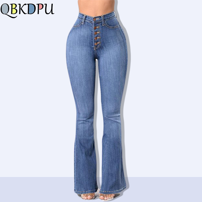 Women Vintage High Waist Stretchy Multi Button Fit Flare Jeans Ladies Casual Washed Denim Trousers 2019 Mom's Plus SizeS-4XL
