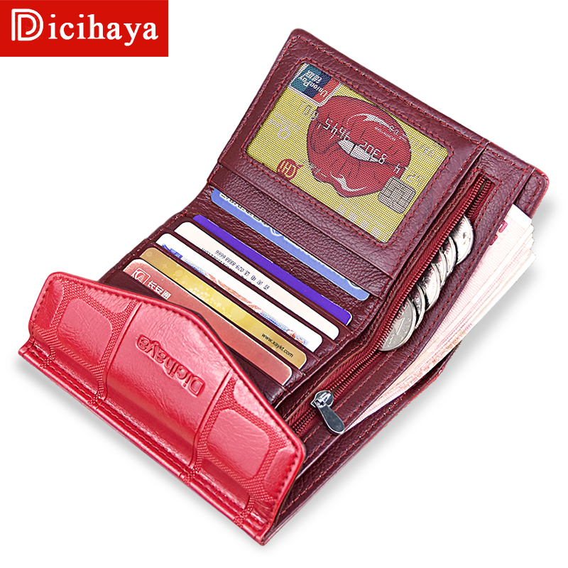DICIHAYA Lady Leather Fastener Zipper Short Clutch Wallet Fashion Small Female Purse Short Purse Hasp Women Wallets 201904 dicihaya fashion short women wallet female leather womens wallets double zipper design with coin purse pockets mini wallet 702 9