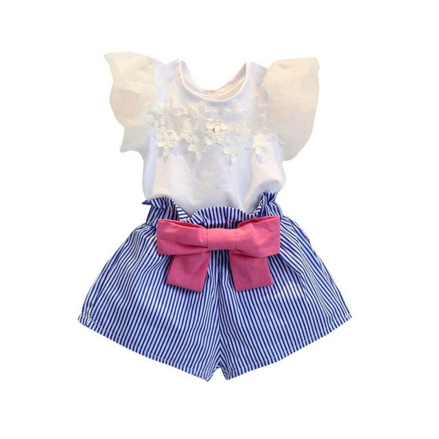66a8f3562272 2PCS 2-7Years Children Clothing Sets Korean Kids Clothes Suits Summer Short  Sleeve T-shirt+Stripe Shorts Baby Girls Outfits j2