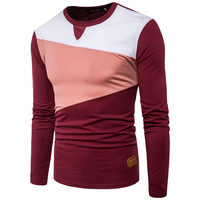 Patchwork T Shirt Men 2017 New Spring Autumn Long Sleeve Mens T Shirts Casual Slim Fit
