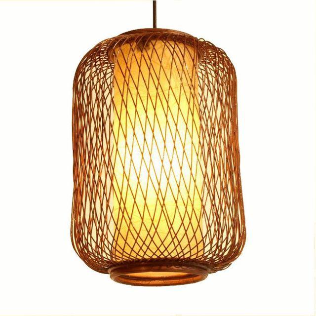 Handmade Bamboo Basket Restaurant Pendant Lamp Dining Room Balcony Kitchen Light Fixtures
