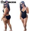Gran Tamaño de Las Mujeres Más El Tamaño de Trajes de Baño Bikinis Set Sexy Dividir Negro traje de Baño Femenino Push Up de Una sola Pieza Trajes Traje de Bikini